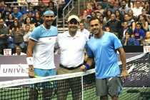 SAN JUAN, PUERTO RICO - MARCH 21: Rafael Nadal, Carlos Juarbe and Victor Estrella pose for media at the beginning of Exhibition Match between Rafael Nadal vs Victor Estrella at Coliseo Jose M. Agrelot on March 21, 2016 in San Juan, Puerto Rico. (Photo by GV Cruz/WireImage)
