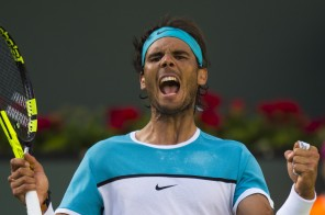 Rafael Nadal of Spain reacts after defeating Fernando Verdasco of Spain, March 15, 2016 at the BNP Paribas Open at the Indian Wells Tennis Garden in Indian Wells, California. / AFP / ROBYN BECK