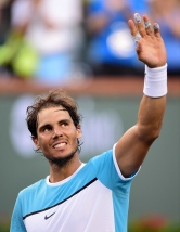 INDIAN WELLS, CA - MARCH 16: Rafael Nadal of Spain celebrates victory over Alexander Zverev of Gremany at Indian Wells Tennis Garden on March 16, 2016 in Indian Wells, California. (Photo by Harry How/Getty Images)