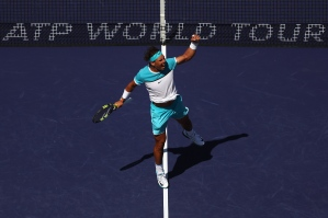 INDIAN WELLS, CA - MARCH 18: Rafael Nadal of Spain celebrates defeating Kei Nishikori of Japan during day twelve of the BNP Paribas Open at Indian Wells Tennis Garden on March 18, 2016 in Indian Wells, California. (Photo by Julian Finney/Getty Images)