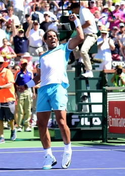 INDIAN WELLS, CA - MARCH 18: Rafael Nadal of Spain returns a forehand during his straight set win over Kei Nishikori of Japan during day twelve of the 2016 BNP Paribas Open at Indian Wells Tennis Garden on March 18, 2016 in Indian Wells, California. (Photo by Harry How/Getty Images)