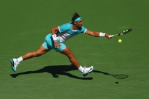INDIAN WELLS, CA - MARCH 18: Rafael Nadal of Spain in action in his match against Kei Nishikori of Japan during day twelve of the BNP Paribas Open at Indian Wells Tennis Garden on March 18, 2016 in Indian Wells, California. (Photo by Julian Finney/Getty Images)