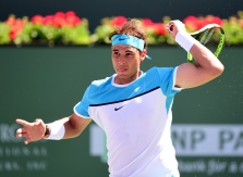 INDIAN WELLS, CA - MARCH 18: Rafael Nadal of Spain during his straight set win over Kei Nishikori of Japan during day twelve of the 2016 BNP Paribas Open at Indian Wells Tennis Garden on March 18, 2016 in Indian Wells, California. (Photo by Harry How/Getty Images)