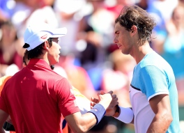 INDIAN WELLS, CA - MARCH 18: Rafael Nadal of Spain shakes hands with Kei Nishikori of Japan after beating him in straight sets during day twelve of the 2016 BNP Paribas Open at Indian Wells Tennis Garden on March 18, 2016 in Indian Wells, California. (Photo by Harry How/Getty Images)