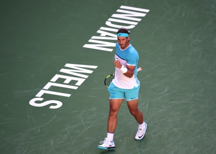 INDIAN WELLS, CA - MARCH 16: Rafael Nadal of Spain celebrates a point during his match against Alexander Zverev of Germany at Indian Wells Tennis Garden on March 16, 2016 in Indian Wells, California. (Photo by Harry How/Getty Images)
