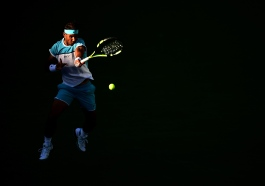 INDIAN WELLS, CA - MARCH 16: Rafael Nadal of Spain returns a forehand during his match against Alexander Zverev of Germany at Indian Wells Tennis Garden on March 16, 2016 in Indian Wells, California. (Photo by Harry How/Getty Images)