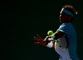 INDIAN WELLS, CA - MARCH 15: Rafael Nadal of Spain hits a forehand during his straight set victory over Fernando Verdasco of Spain at Indian Wells Tennis Garden on March 15, 2016 in Indian Wells, California. (Photo by Harry How/Getty Images)