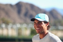 Rafael Nadal of Spain smiles as he talks to the media during day three of the BNP Paribas Open at Indian Wells Tennis Garden on March 9, 2016 in Indian Wells, California. (March 8, 2016 - Source: Julian Finney/Getty Images North America)