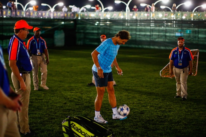 Rafael Nadal taking a break to play some soccer at the Indian Wells Tennis Garden in Indian Wells, California Thursday, March 10, 2016.(Photo by Jared Wickerham/BNP Paribas Open)