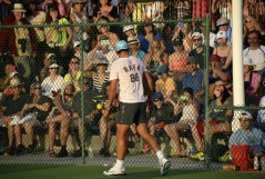 Rafael Nadal of Spain practices in front of a large crowd during day four of the BNP Paribas Open at Indian Wells Tennis Garden on March 10, 2016 in Indian Wells, California. (March 9, 2016 - Source: Kevork Djansezian/Getty Images North America)