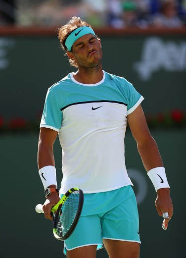 Rafael Nadal of Spain reacts in his match against Fernando Verdasco of Spain during day nine of the BNP Paribas Open at Indian Wells Tennis Garden on March 15, 2016 in Indian Wells, California. (March 14, 2016 - Source: Julian Finney/Getty Images North America)