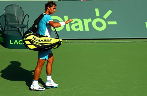 KEY BISCAYNE, FL - MARCH 26: Rafael Nadal of Spain walks off the court after retiring during a match against Damir Dzumhur of Bosnia and Herzegovina during Day 6 of the Miami Open presented by Itau at Crandon Park Tennis Center on March 26, 2016 in Key Biscayne, Florida. (Photo by Mike Ehrmann/Getty Images)