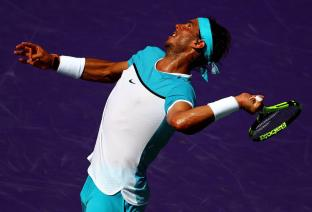 KEY BISCAYNE, FL - MARCH 26: Rafael Nadal of Spain plays a match against Damir Dzumhur of Bosnia and Herzegovina during Day 6 of the Miami Open presented by Itau at Crandon Park Tennis Center on March 26, 2016 in Key Biscayne, Florida. (Photo by Mike Ehrmann/Getty Images)