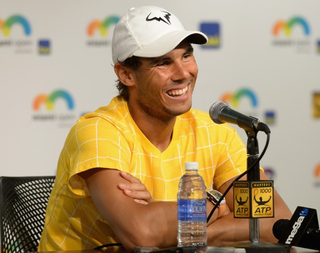 Rafael Nadal smiles at the media during his Friday afternoon press conference in Miami
