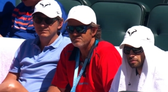 Rafael Nadal team at Indian Wells SF 2015 PR agent, coach Roig and physio Maymo