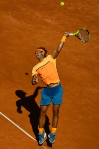 BARCELONA, SPAIN - APRIL 23: Rafael Nadal of Spain serves against Philipp Kohlschreiber of Germany during day six of the Barcelona Open Banc Sabadell at the Real Club de Tenis Barcelona on April 23, 2016 in Barcelona, Spain. Nadal won 6-3, 6-3. (Photo by David Ramos/Getty Images)