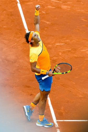 BARCELONA, SPAIN - APRIL 23: Rafael Nadal of Spain celebrates defeating Philipp Kohlschreiber of Germany during day six of the Barcelona Open Banc Sabadell at the Real Club de Tenis Barcelona on April 23, 2016 in Barcelona, Spain. Nadal won 6-3, 6-3. (Photo by David Ramos/Getty Images)