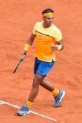 Rafael Nadal of Spain celebrates defeating Albert Montanez of Spain during day four of the Barcelona Open Banc Sabadell at the Real Club de Tenis Barcelona on April 21, 2016 in Barcelona, Spain. Nadal won 6-2, 6-2. (April 20, 2016 - Source: David Ramos/Getty Images Europe)
