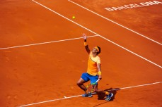 Rafael Nadal of Spain serves against Albert Montanez during day four of the Barcelona Open Banc Sabadell at the Real Club de Tenis Barcelona on April 21, 2016 in Barcelona, Spain. Nadal won 6-2, 6-2. (April 20, 2016 - Source: David Ramos/Getty Images Europe)