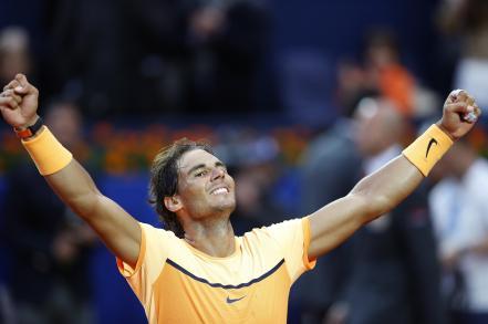Spain's Rafael Nadal celebrates after winning the Barcelona Open tennis tournament in Barcelona, Spain, Sunday, April 24, 2016. Spain's Rafael Nadal defeated Japan's Kei Nishikori 6-4 and 7-5, in the final. (AP Photo/Manu Fernandez)