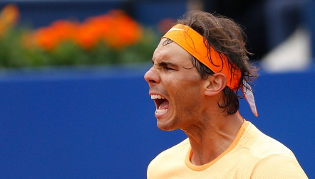 Rafa Nadal reacts as he celebrates his victory over Fabio Fognini of Italy during the Barcelona open tennis tournament in Barcelona, Spain, Friday, April 22, 2016. (AP Photo/Manu Fernandez)