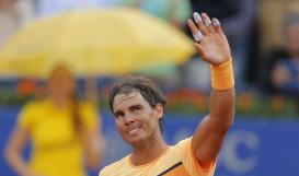 Spain's Rafael Nadal celebrates his victory over Philipp Kohlschreiber from Germany during the Barcelona open tennis tournament in Barcelona, Spain, Saturday, April 23, 2016. (AP Photo/Manu Fernandez)