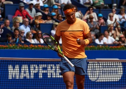 BARCELONA, SPAIN - APRIL 20: Rafael Nadal celebrates against Marcel Granollers during day three of the Barcelona Open Banc Sabadell at the Real Club de Tenis Barcelona on April 20, 2016 in Barcelona, Spain. (Photo by Manuel Queimadelos Alonso/Getty Images)