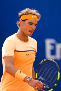 BARCELONA, SPAIN - APRIL 20: Rafael Nadal looks on during his match against Marcel Granollers during day three of the Barcelona Open Banc Sabadell at the Real Club de Tenis Barcelona on April 20, 2016 in Barcelona, Spain. (Photo by Alex Caparros/Getty Images)