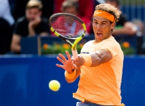 BARCELONA, SPAIN - APRIL 20: Rafael Nadal plays a forehand against Marcel Granollers during day three of the Barcelona Open Banc Sabadell at the Real Club de Tenis Barcelona on April 20, 2016 in Barcelona, Spain. (Photo by Alex Caparros/Getty Images)