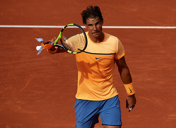 BARCELONA, SPAIN - APRIL 20: Rafael Nadal celebrates defeating Marcel Granollers during day three of the Barcelona Open Banc Sabadell at the Real Club de Tenis Barcelona on April 20, 2016 in Barcelona, Spain. (Photo by Manuel Queimadelos Alonso/Getty Images)