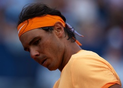 BARCELONA, SPAIN - APRIL 20: Rafael Nadal looks on in his match against Marcel Granollers during day three of the Barcelona Open Banc Sabadell at the Real Club de Tenis Barcelona on April 20, 2016 in Barcelona, Spain. (Photo by Manuel Queimadelos Alonso/Getty Images)