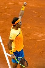 BARCELONA, SPAIN - APRIL 23: Rafael Nadal of Spain celebrates defeating Philipp Kohlschreiber og Germany during day six of the Barcelona Open Banc Sabadell at the Real Club de Tenis Barcelona on April 23, 2016 in Barcelona, Spain. (Photo by David Ramos/Getty Images)