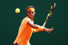 MONTE-CARLO, MONACO - APRIL 15: Rafael Nadal of Spain plays a forehand during the quarter final match against Stanislas Wawrinka of Switzerland on day six of the Monte Carlo Rolex Masters at Monte-Carlo Sporting Club on April 15, 2016 in Monte-Carlo, Monaco. (Photo by Michael Steele/Getty Images)