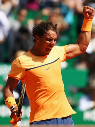 MONTE-CARLO, MONACO - APRIL 15: Rafael Nadal of Spain celebrates victory after the quarter final match against Stanislas Wawrinka of Switzerland on day six of the Monte Carlo Rolex Masters at Monte-Carlo Sporting Club on April 15, 2016 in Monte-Carlo, Monaco. (Photo by Michael Steele/Getty Images)