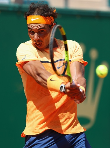 MONTE-CARLO, MONACO - APRIL 15: Rafael Nadal of Spain plays a backhand during the quarter final match against Stanislas Wawrinka of Switzerland on day six of the Monte Carlo Rolex Masters at Monte-Carlo Sporting Club on April 15, 2016 in Monte-Carlo, Monaco. (Photo by Michael Steele/Getty Images)