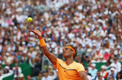 Rafael Nadal of Spain serves during the singles final match against Gael Monfils of France on day eight of the Monte Carlo Rolex Masters at Monte-Carlo Sporting Club on April 17, 2016 in Monte-Carlo, Monaco. (April 16, 2016 - Source: Michael Steele/Getty Images Europe)