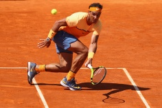 MONTE-CARLO, MONACO - APRIL 16: Rafael Nadal of Spain makes a return during his semi-final match against Andy Murray of Great Britain during the Monte Carlo Rolex Masters at Monte-Carlo Sporting Club on April 16, 2016 in Monte-Carlo, Monaco. (Photo by Michael Steele/Getty Images)