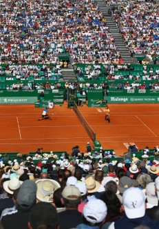 Spectators watch the action during the round three match between Rafael Nadal of Spain and Dominic Thiem of Austria on day five of Monte Carlo Rolex Masters at Monte-Carlo Sporting Club on April 14, 2016 in Monte-Carlo, Monaco. (April 13, 2016 - Source: Michael Steele/Getty Images Europe)
