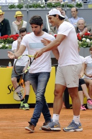 MADRID, SPAIN - APRIL 29: Rafa Nadal (R) and Cayetano Rivera attend Charity Day Tournament during Mutua Madrid Open at La Caja Magica on April 29, 2016 in Madrid, Spain. (Photo by Europa Press/Europa Press via Getty Images)