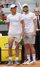 MADRID, SPAIN - APRIL 29: Rafa Nadal (L) and Feliciano Lopez attend Charity Day Tournament during Mutua Madrid Open at La Caja Magica on April 29, 2016 in Madrid, Spain. (Photo by Europa Press/Europa Press via Getty Images)