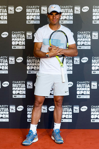 MADRID, SPAIN - APRIL 29: Rafa Nadal attends Charity day tournament during Mutua Madrid Open at Caja magica on April 29, 2016 in Madrid, Spain. (Photo by Juan Naharro Gimenez/Getty Images)