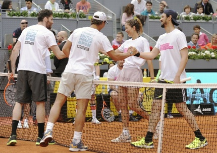 MADRID, SPAIN - APRIL 29: (L-R) Rudy Fernandez, Rafa Nadal, Garbine Muguruza and Stany Coppet attends Charity Day Tournament during Mutua Madrid Open at La Caja Magica on April 29, 2016 in Madrid, Spain. (Photo by Europa Press/Europa Press via Getty Images)