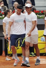 MADRID, SPAIN - APRIL 29: Rafa Nadal (R) and Aitor Ocio attend Charity Day Tournament during Mutua Madrid Open at La Caja Magica on April 29, 2016 in Madrid, Spain. (Photo by Europa Press/Europa Press via Getty Images)
