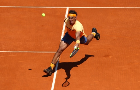 MONTE-CARLO, MONACO - APRIL 13: Rafael Nadal of Spain hits a forehand return during his second round match against Aljaz Bedene of Great Britain on day four of the Monte Carlo Rolex Masters at Monte-Carlo Sporting Club on April 13, 2016 in Monte-Carlo, Monaco. (Photo by Michael Steele/Getty Images)