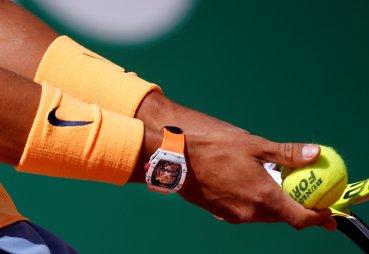 Tennis - Monte Carlo Masters - Monaco, 13/04/2016. Rafael Nadal of Spain prepares to serve to Aljaz Bedene of Britain. REUTERS/Eric Gaillard