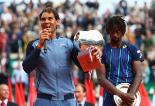 Rafael Nadal of Spain celebrates victory in the singles final match against Gael Monfils of France during day eight of the Monte Carlo Rolex Masters at Monte-Carlo Sporting Club on April 17, 2016 in Monte-Carlo, Monaco. (April 16, 2016 - Source: Michael Steele/Getty Images Europe)