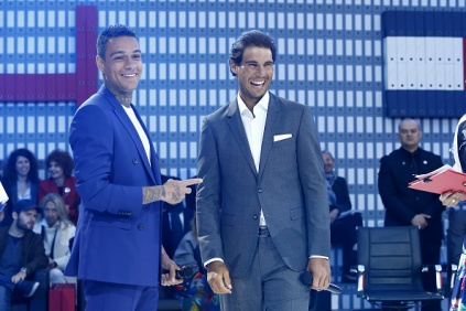 PARIS, FRANCE - MAY 18: (L-R) Gregory van der Wiel and Rafael Nadal attend the Tommy X Nadal party tennis soccer match hosted by Tommy Hilfiger on May 18, 2016 in Paris, France. (Photo by Rindoff Petroff/Hekimian/Getty Images for Tommy Hilfiger)