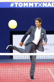 PARIS, FRANCE - MAY 18: Rafael Nadal plays during the Tommy X Nadal party tennis soccer match hosted by Tommy Hilfiger on May 18, 2016 in Paris, France. (Photo by Rindoff Petroff/Hekimian/Getty Images for Tommy Hilfiger)