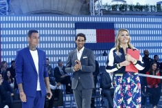 PARIS, FRANCE - MAY 18: (L-R) Gregory van der Wiel, Rafael Nadal and Justine Fraioli attend the Tommy Hilfiger Hosts Tommy X Nadal Party - Tennis Soccer Match on May 18, 2016 in Paris, France. (Photo by Rindoff Petroff/Hekimian/Getty Images for Tommy Hilfiger)