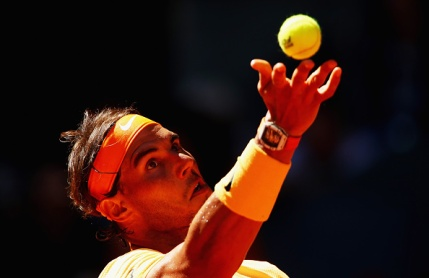 MADRID, SPAIN - MAY 03: Rafael Nadal of Spain serves against Andrey Kuznetsov of Russia in their second round match during day four of the Mutua Madrid Open tennis tournament at the Caja Magica on May 03, 2016 in Madrid,Spain. (Photo by Clive Brunskill/Getty Images)